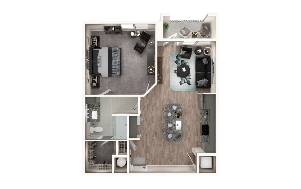 A1.1 - 1 bedroom floorplan layout with 1 bath and 833 square feet.