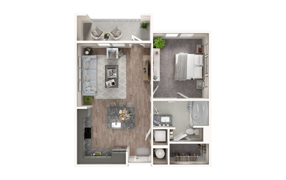 A2 - 1 bedroom floorplan layout with 1 bath and 730 square feet.