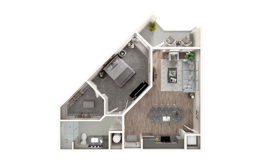 A3 - 1 bedroom floorplan layout with 1 bath and 782 square feet.