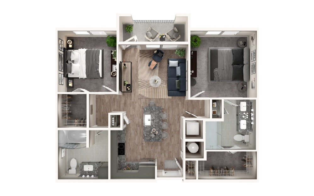 B1 - 2 bedroom floorplan layout with 2 baths and 959 square feet.