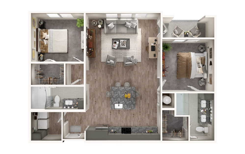 B2.1 - 2 bedroom floorplan layout with 2 baths and 1199 square feet.