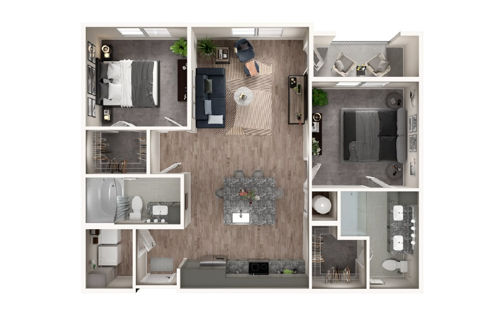 B2 - 2 bedroom floorplan layout with 2 baths and 1062 square feet.