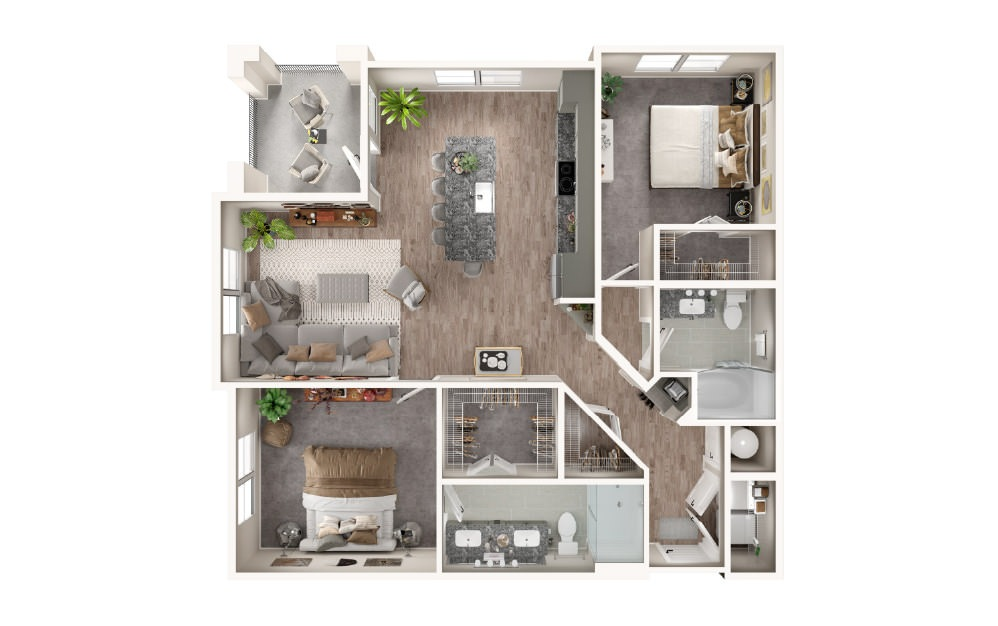 B3 - 2 bedroom floorplan layout with 2 baths and 1154 square feet.