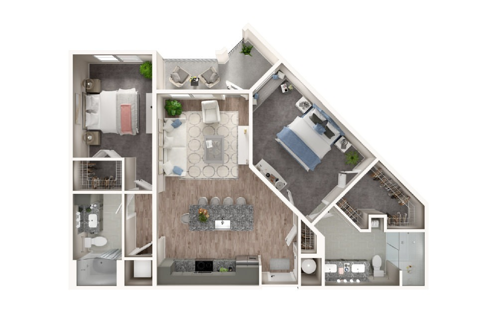 B4 - 2 bedroom floorplan layout with 2 baths and 1103 square feet.
