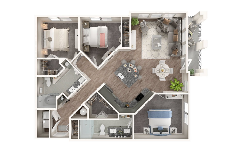 C1 - 3 bedroom floorplan layout with 2 baths and 1357 square feet.